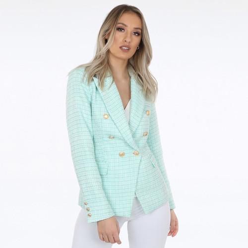 Paulina Contrast Knit Balmain Inspired Blazer - Mint