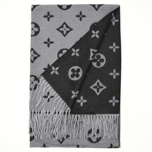Lou Reversible Designer Inspired Scarf - Black / Grey