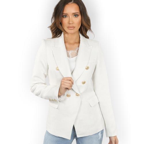 Georgia Knitted Hopsack Balmain Inspired Tailored Blazer - White