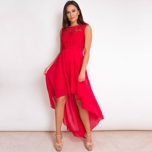 Delilah Lace Top Chiffon Dip Hem Dress - Red