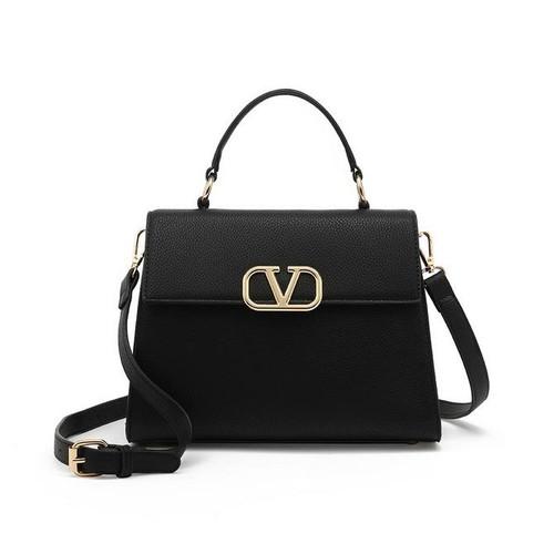 Silvia Top Handle V Designer Inspired Bag - Black