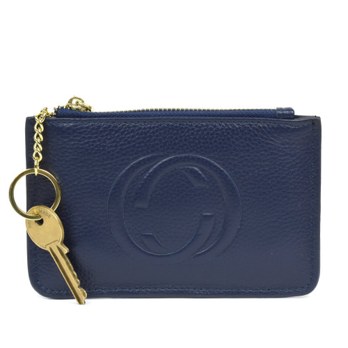 Thea Real Leather Gucci Inspired Key Pouch - Navy
