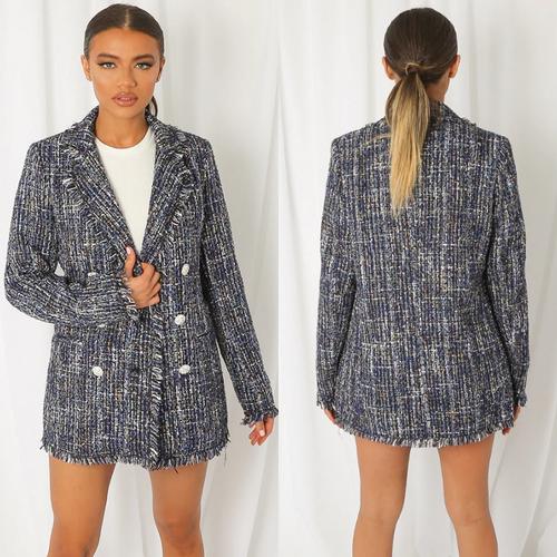 Verity Boucle Designer Inspired Jacket - Navy Mix