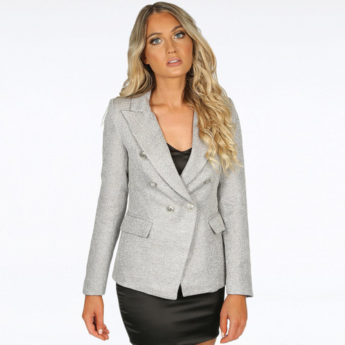 Georgia Knitted Hopsack Balmain Inspired Tailored Blazer - Grey