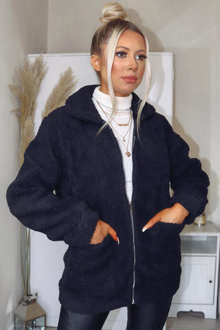 Olivia Zip Up Designer Inspired Borg Teddy Jacket - Black
