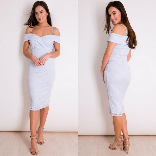Julia Cold Shoulder Lace Midi Dress - Powder Blue