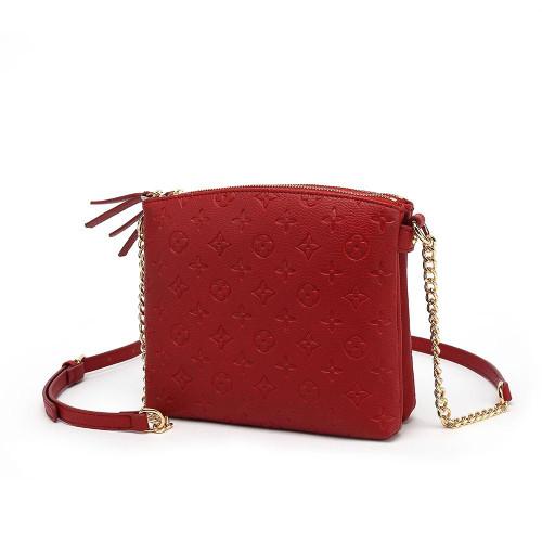 Hayley Monogram Designer Inspired Crossbody Bag - Red