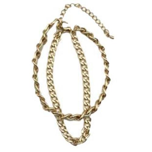 Kia Designer Inspired Double Chain Bracelet - White / Gold
