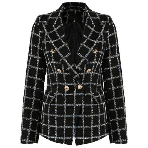 Jem Metallic Check Balmain Inspired Blazer - Black