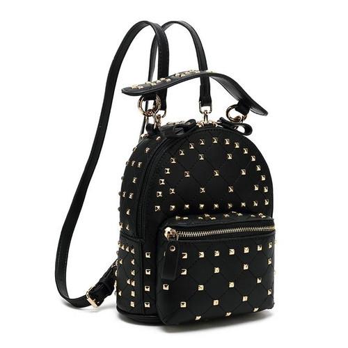 London Studded Valentino Inspired Backpack Mini - Black / Gold