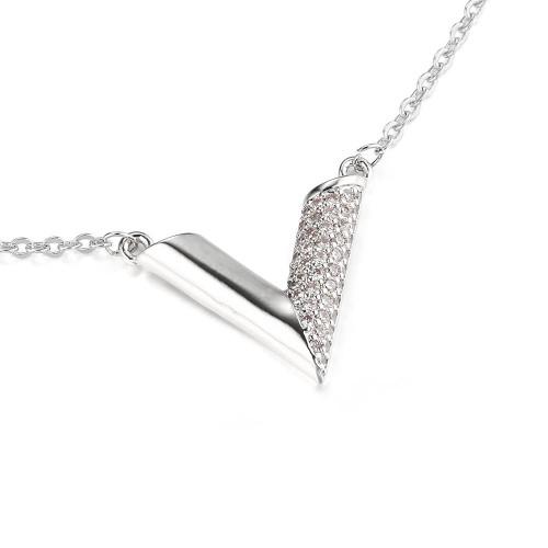 Essential V Designer Inspired Necklace - Silver