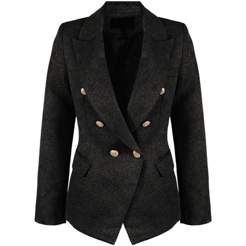 Georgia Knitted Hopsack Balmain Inspired Tailored Blazer - Black