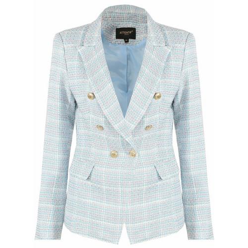 Peony Check Tweed Balmain Inspired Blazer - Blue