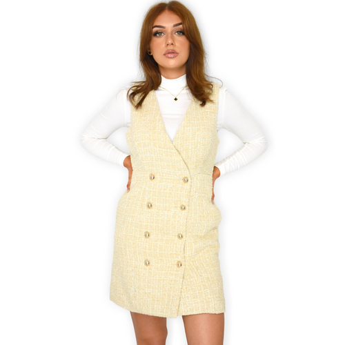 Krissy Designer Inspired Tweed Pinafore Dress - Beige