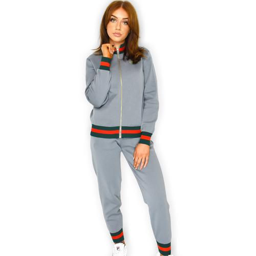 Sophie Striped Designer Inspired Loungewear Set - Grey