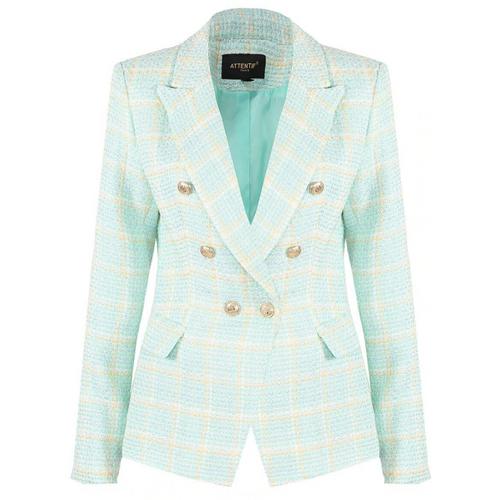 Peony Check Tweed Balmain Inspired Blazer - Mint