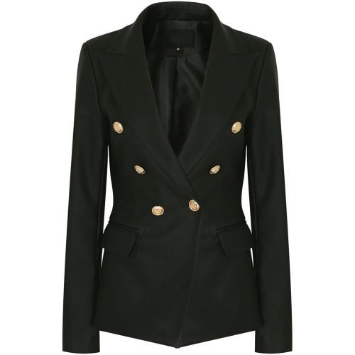 Victoria Balmain Inspired Tailored Blazer - Black PU Leather