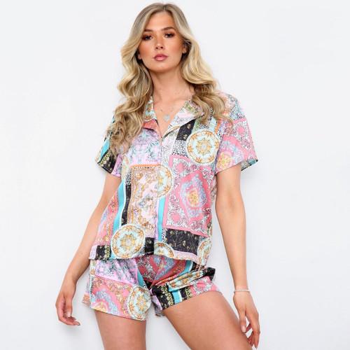 Kamari Silky Scarf Print Designer Inspired Pyjama Set
