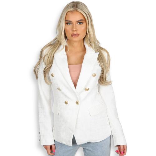 Paulina Contrast Knit Balmain Inspired Blazer - White