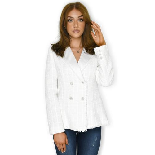 Nadine Tweed Designer Inspired Blazer - White