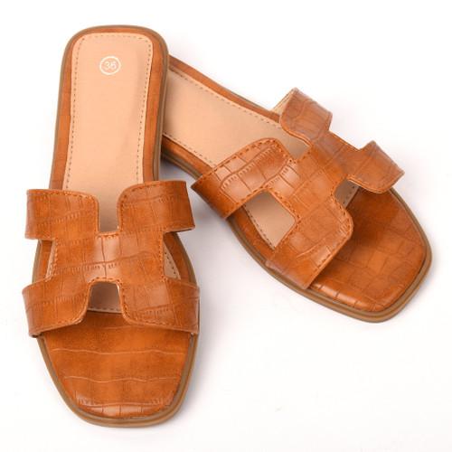 Orianna Snake Designer Inspired H Sandal - Tan