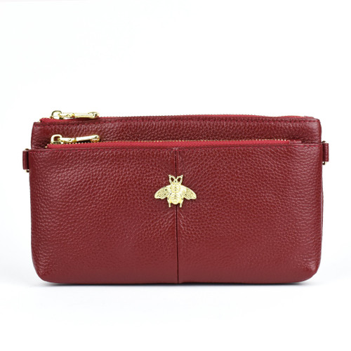 Larissa Bee Real Leather Designer Inspired Wristlet Purse - Wine Red