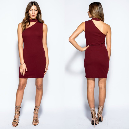 Morgan Asymmetric Choker Neck Crepe Mini Dress - Wine