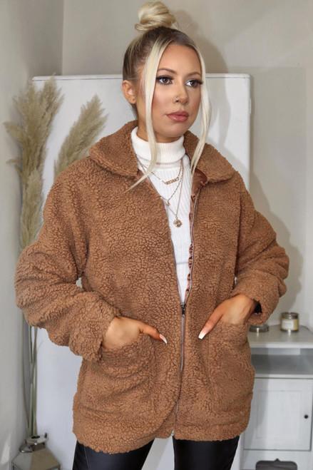 Olivia Zip Up Designer Inspired Borg Teddy Jacket - Camel
