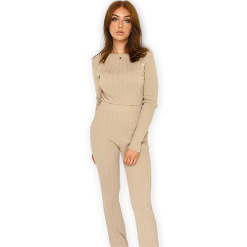 Lalita Button Designer Inspired Loungewear Set - Camel