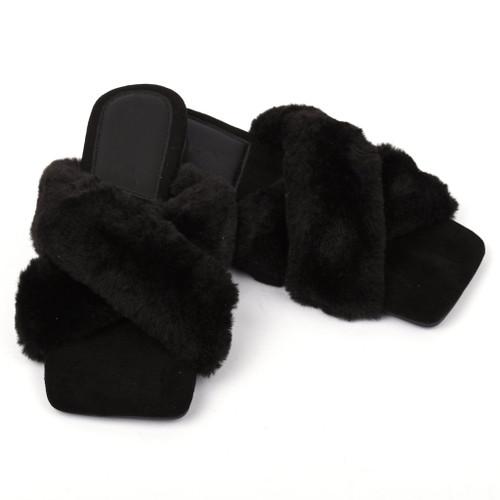 Marilyn Faux Fur Designer Inspired Slippers - Black