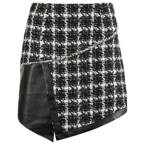 Cher Tweed PU Overlap Designer Inspired Mini Skirt - Black