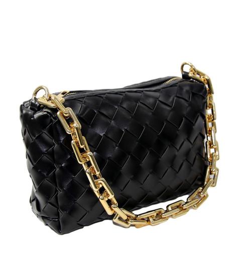 Angel Designer Inspired Chain Padded Cassette Bag - Black