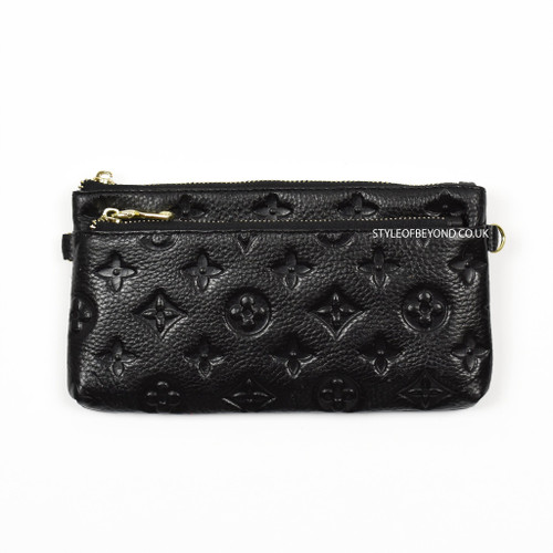 Ronel Real Leather Designer Inspired Wristlet Purse - Black