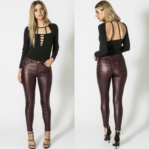 Ryleigh Leatherette Mid Rise Skinnies - Wine