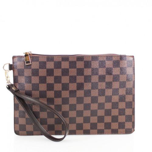 Margot Designer Inspired Clutch Bag - Brown Check