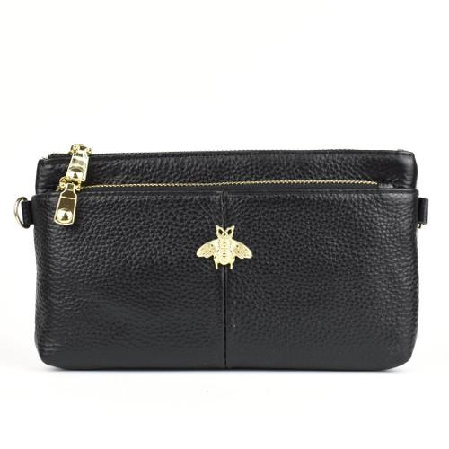 Larissa Bee Real Leather Designer Inspired Wristlet Purse - Black
