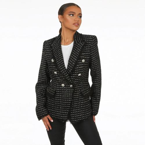 Sierra Frayed Edge Balmain Inspired Blazer - Black