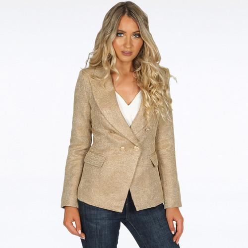 Georgia Knitted Hopsack Balmain Inspired Tailored Blazer - Beige