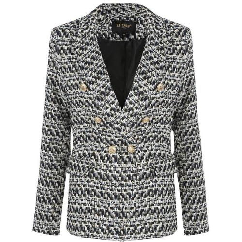 Lydia Textured Knit Thread Balmain Inspired Blazer - White Mix
