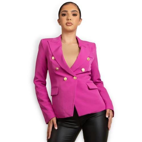 Victoria Balmain Inspired Tailored Blazer - Magenta