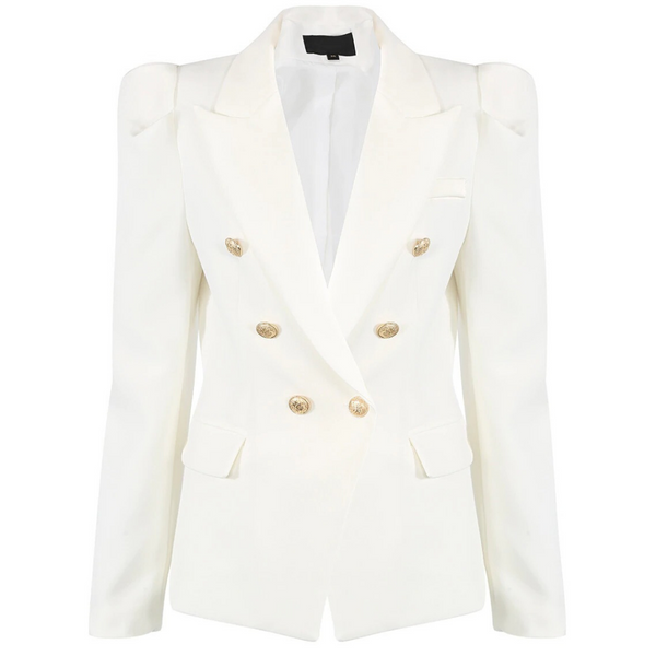 Amelia Puffed Sleeve Balmain Inspired Blazer - Ivory White