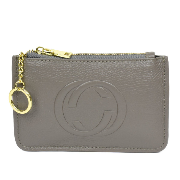Thea Real Leather Gucci Inspired Key Pouch - Grey