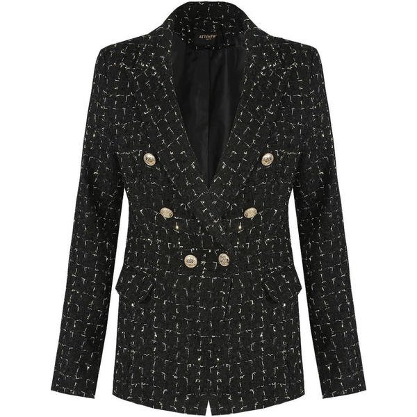 Lydia Textured Knit Thread Balmain Inspired Blazer - Black Mix