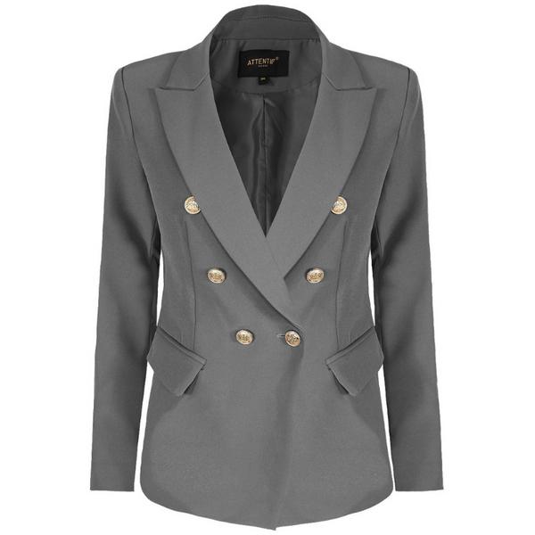 Alexandra Balmain Inspired Tailored Blazer - Grey