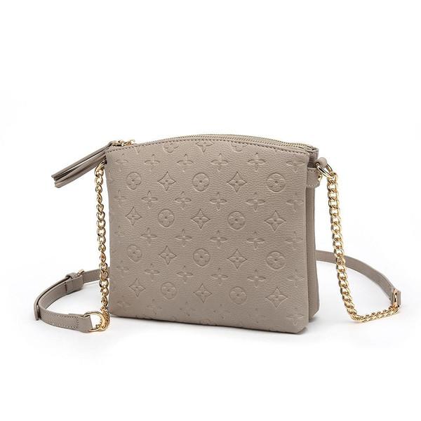 Hayley Monogram Designer Inspired Crossbody Bag - Mink
