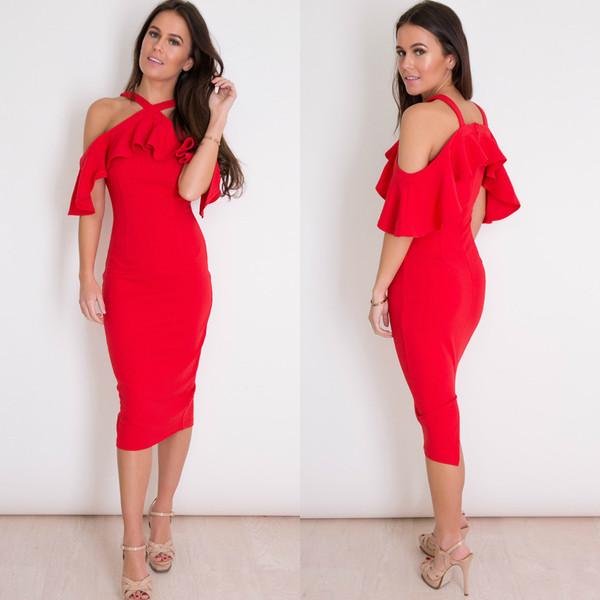 Tatum Halterneck Frill Cold Shoulder Midi Dress - Red