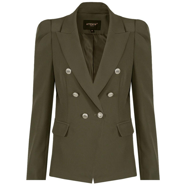Amelia Puffed Sleeve Balmain Inspired Blazer - Khaki