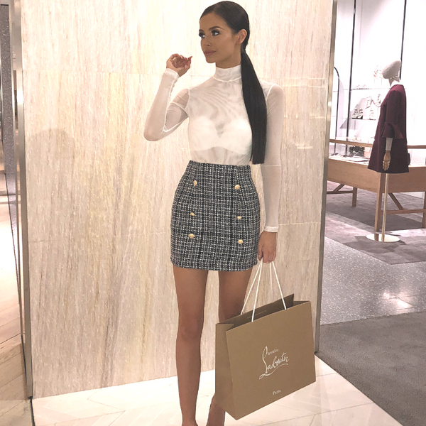 Addison Designer Inspired Tweed Skirt - Black