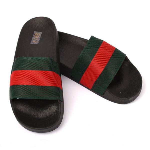 Sian Designer Inspired Striped Sliders - Black