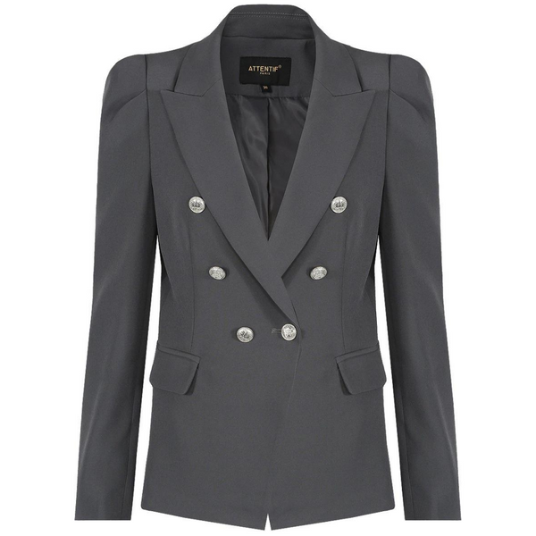Amelia Puffed Sleeve Balmain Inspired Blazer - Dark Grey